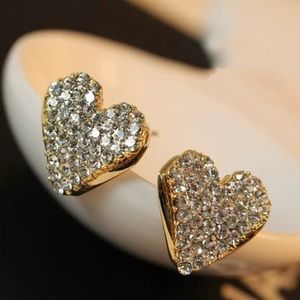 Jewelry - 18k gold plated pierced rhinestone earrings New